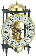 "Hermle 23003-000711 ""Kehl"" Windup Antique Style Skeleton Table Clock, Black and Brass"