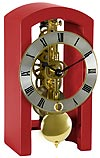 "Hermle 23015-360721 ""Patterson"" Windup Skeleton Table Clock, Red"