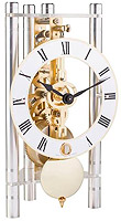 "Hermle 23023-X40721 ""Lakin"" Windup Table Clock, Silver, Metal Roman Numeral Dial"