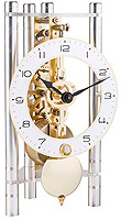 "Hermle 23024-X40721 ""Lakin"" Windup Table Clock, Silver, Metal Arabic Numeral Dial"