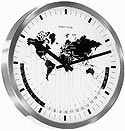 "Hermle 30504-002100 ""Airport"" Battery-Operated Stainless Steel Wall World Time Clock"