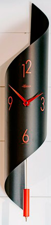 "Hermle 70869-292200 ""Savannah II"" Quartz Time-Only Wall Clock, Black & Red"