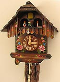 Herr 1313 Chalet with Flowers and Dancers One-Day Musical Cuckoo Clock