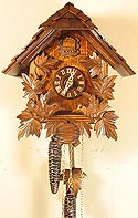 Romba 1249 Animated Feeding Birds Chalet One-Day Cuckoo Clock