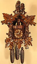 Romba 8360 Hooting Owl Musical 8 Day Cuckoo Clock