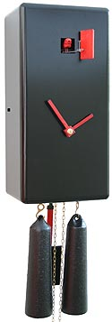 "Romba CL34-2 ""Karee"" Rectangular Design 8-Day Cuckoo Clock - Black"