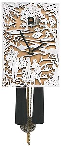 "Romba SN341 ""Filigree"" 8-Day Cuckoo Clock - White & Natural Wood"