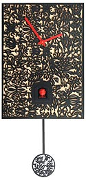 "Romba SNQ2 ""Filigree"" Battery-Operated Cuckoo Clock - Black"