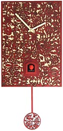 "Romba SNQ3 ""Filigree"" Battery-Operated Cuckoo Clock - Red"