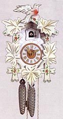 Sternreiter 1200W 1-Day Bird and Leaf Cuckoo Clock, White with Flowers