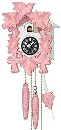 Sternreiter 1201QM Battery-Operated Pink and White Cuckoo Clock