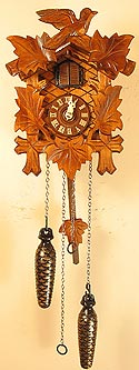 Sternreiter 40QM Battery-Operated Bird and Leaf Cuckoo Clock with Music