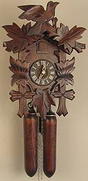Sternreiter 8202S Larger Bird and Leaf 8-Day Cuckoo Clock with Wooden Weights