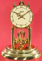 Schatz standard 400 day clock with cream color painted dial background. Dated 9-52 (September 1952)